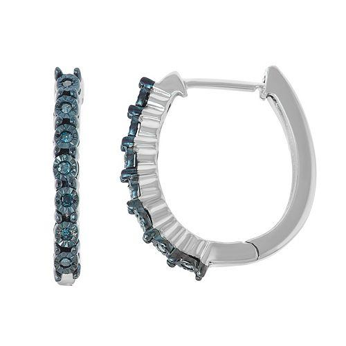 Sterling Silver Blue Diamond Accent Hoop Earrings