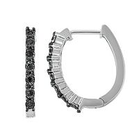Sterling Silver Black Diamond Accent Hoop Earrings