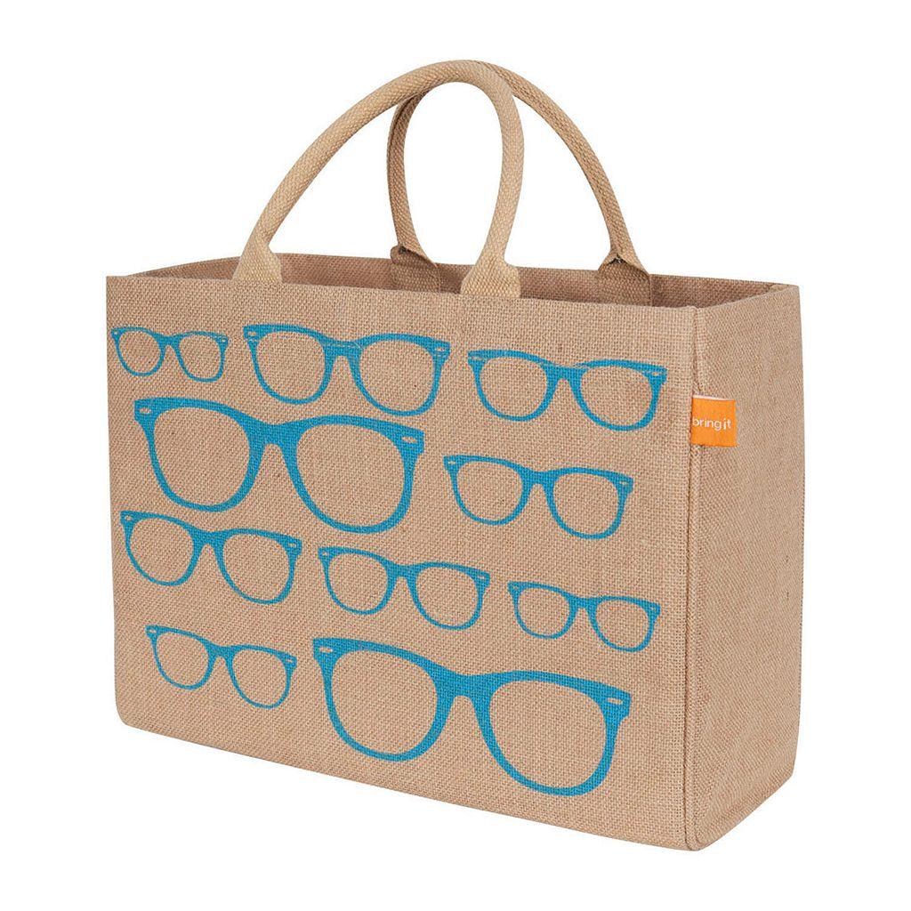 KAF HOME Glasses Jute Tote Bag