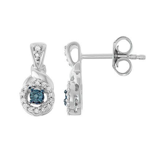 Sterling Silver 1/8 Carat T.W. Blue Diamond Halo Drop Earrings