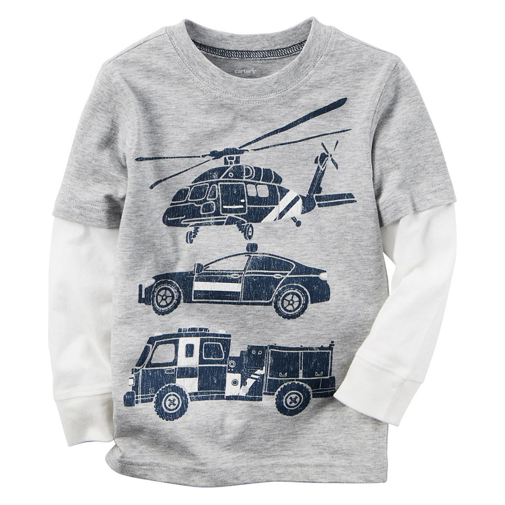 Baby Boy Carter's Rescue Vehicle Gray Mock-Layered Long Sleeve Graphic Tee