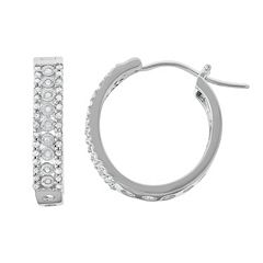 Sterling Silver 3/8 Carat T.W. Diamond Hoop Earrings