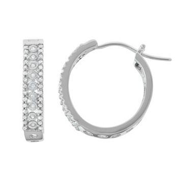 Sterling Silver 3/8 Carat T.W. Diamond Hoop Earrings