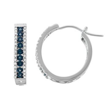 Sterling Silver 3/8 Carat T.W. Blue Diamond Hoop Earrings