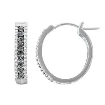 Sterling Silver 3/8 Carat T.W. Black Diamond Hoop Earrings