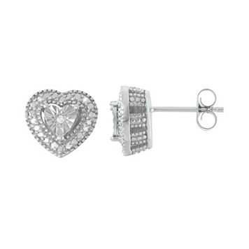Sterling Silver 1/10 Carat T.W. Diamond Heart Drop Earrings