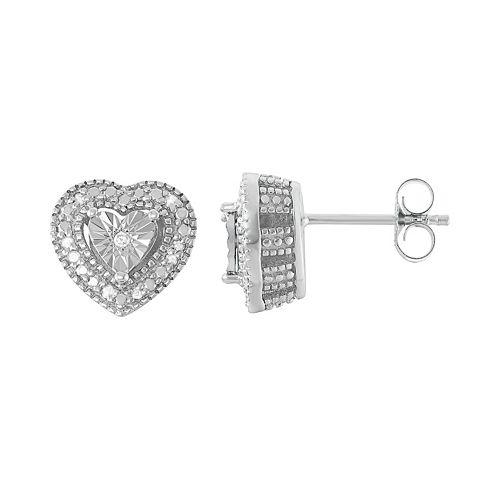Sterling Silver 1/10 Carat T.W. Diamond Heart Drop Earrings