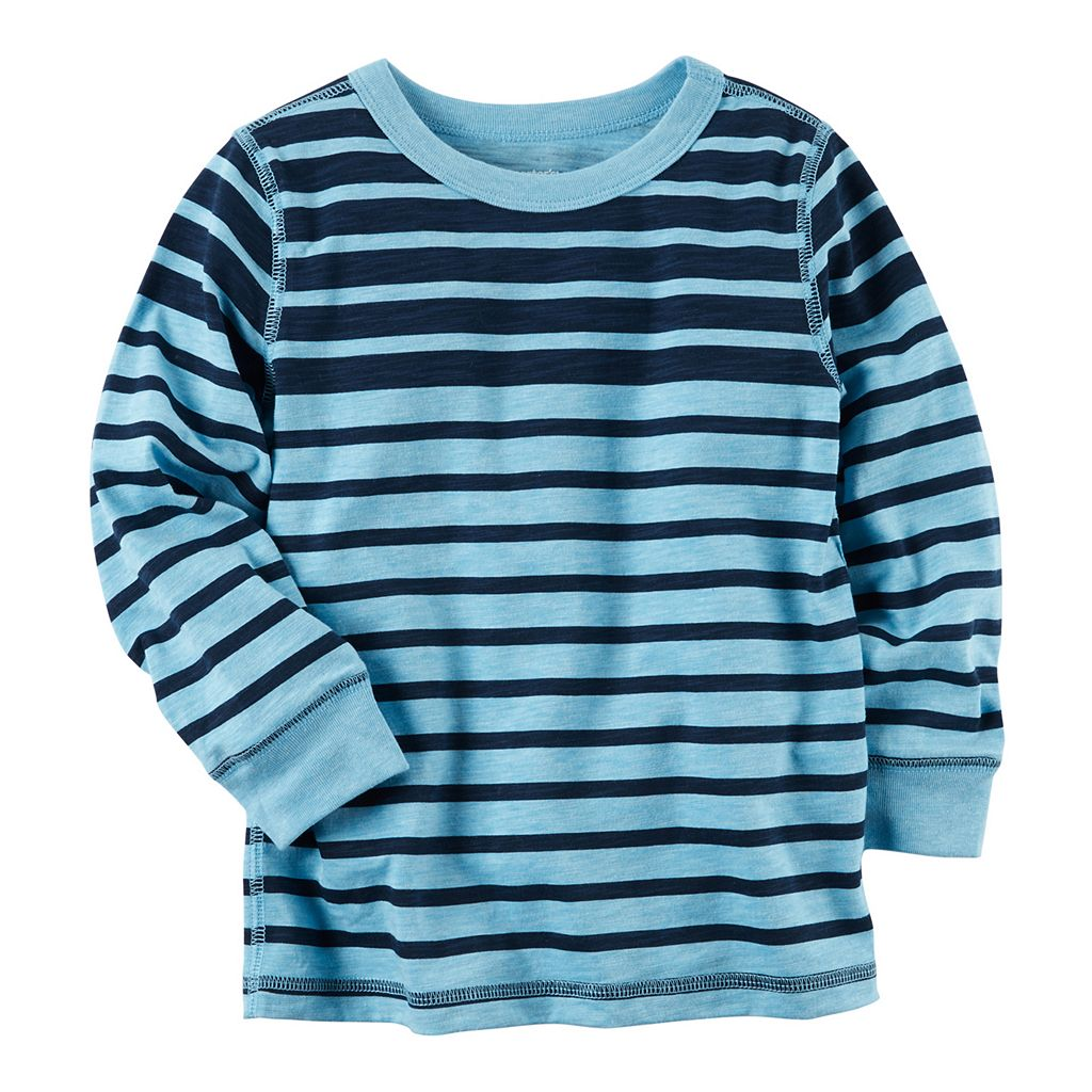Baby Boy Carter's Blue Long Sleeve Striped Tee