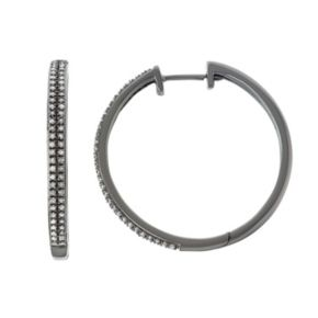 Sterling Silver 1/2 Carat T.W. Diamond Hoop Earrings