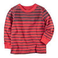 Baby Boy Carter's Red Long Sleeve Striped Tee
