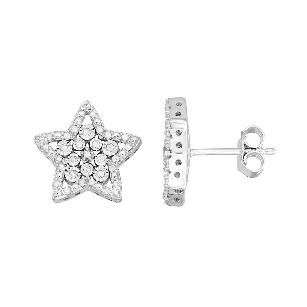 Sterling Silver 1/4 Carat T.W. Diamond Star Drop Earrings