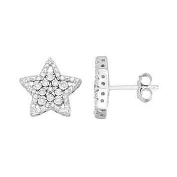 Sterling Silver 1/4 Carat T.W. Diamond Star Drop Earrings