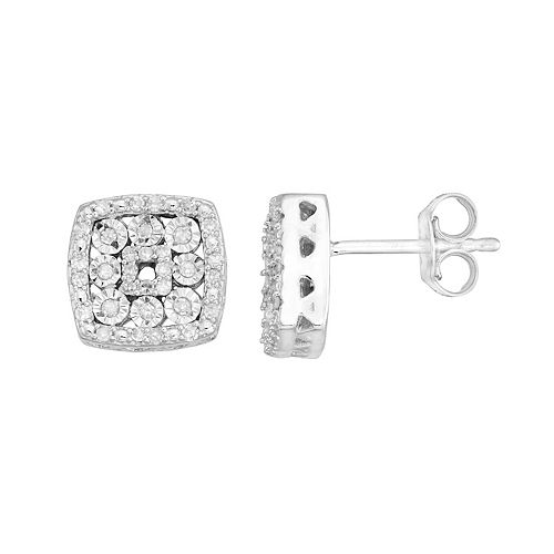 Sterling Silver 1/4 Carat T.W. Diamond Square Drop Earrings