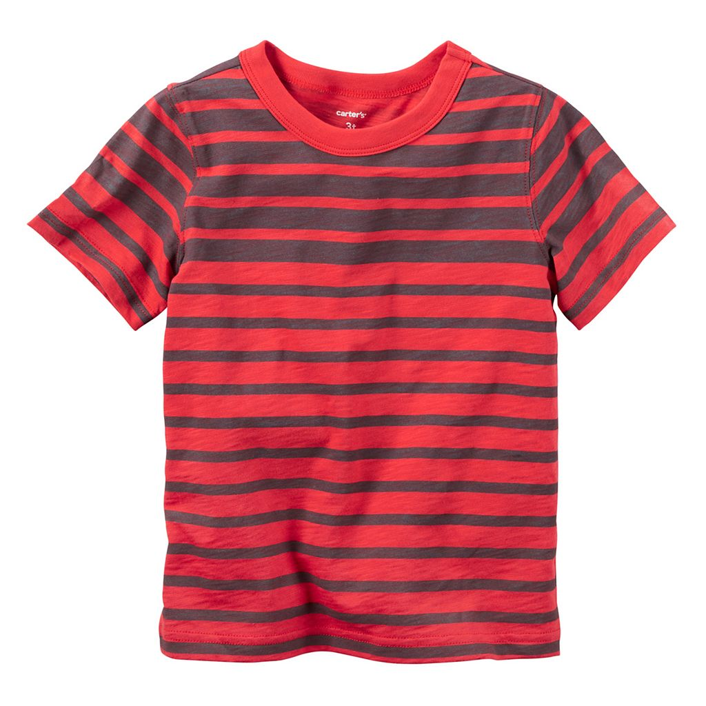 Baby Boy Carter's Red Short Sleeve Striped Tee