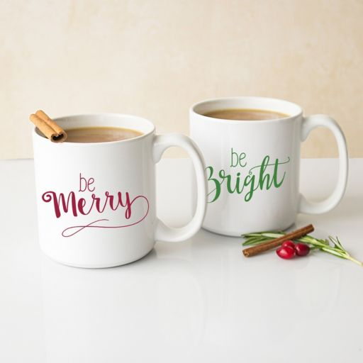 """Cathy's Concepts 2-pc. """"Be Merry, Be Bright"""" Coffee Mug Set"""