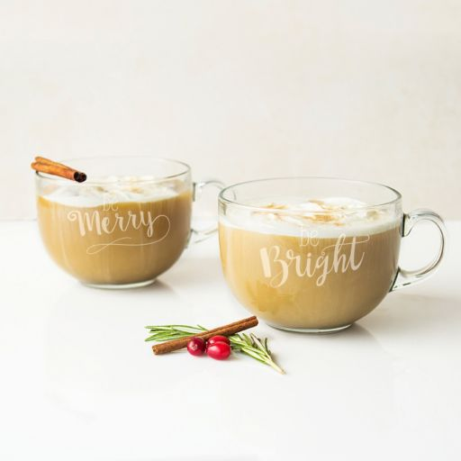 """Cathy's Concepts 2-pc. """"Be Merry, Be Bright"""" Glass Coffee Mug Set"""