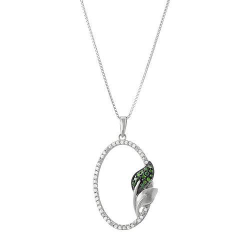 Sterling Silver 1/5 Carat T.W. Diamond Oval Leaf Pendant Necklace