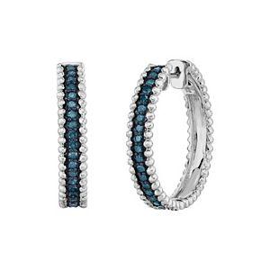 Sterling Silver 1 2 Carat T W Blue Diamond Hoop Earrings