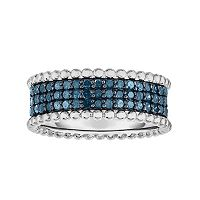 Sterling Silver 1/2 Carat T.W. Blue Diamond Ring