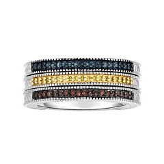 Sterling Silver 1/4 Carat T.W. Blue, Yellow & Red Diamond Stack Ring Set