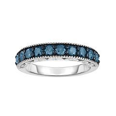 Sterling Silver 1 Carat T.W. Blue Diamond Ring