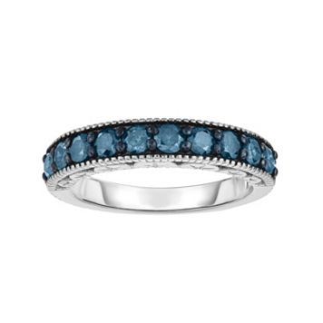 Sterling Silver 1 Carat T.W. Blue Diamond Ring