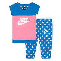 Toddler Girl Nike Polka-Dot Tunic & Capri Leggings Set