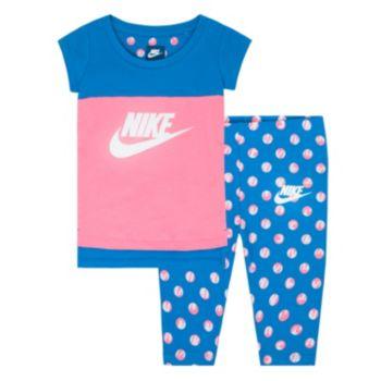 Toddler Girl Nike Polka-Dot Tunic & Capri Leggings Set