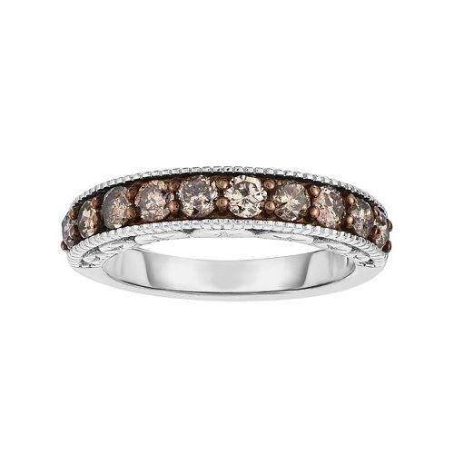Sterling Silver 1 Carat T.W. Champagne Diamond Ring