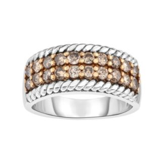 Sterling Silver 1 Carat T.W. Champagne Diamond Striped Ring
