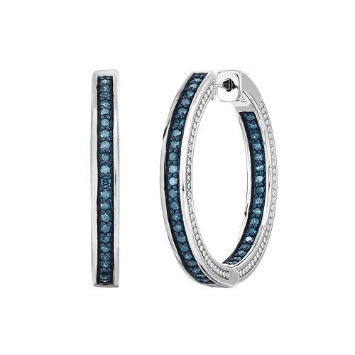 Sterling Silver 1 Carat T.W. Blue Diamond Inside Out Hoop Earrings