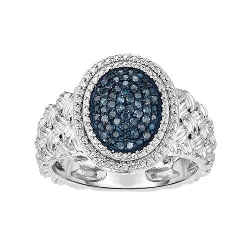 Sterling Silver 1/4 Carat T.W. Blue Diamond Oval Ring