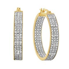 10k Gold Over Silver 1/2 Carat T.W. Diamond Inside Out Hoop Earrings