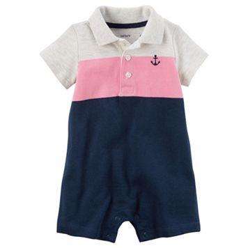 Baby Boy Carter's Colorblock Pique Polo Romper