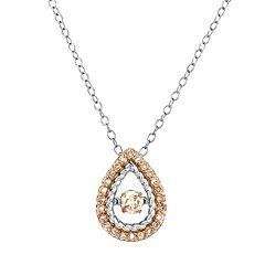 Sterling Silver 3/8 Carat T.W. Champagne Diamond Teardrop Pendant