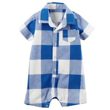 Baby Boy Carter's Checkered Button-Front Romper
