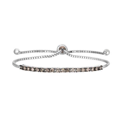 Sterling Silver 1 Carat T.W. Champagne Diamond Lariat Bracelet