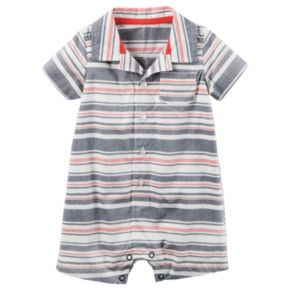 Baby Boy Carter's Striped Button-Front Romper