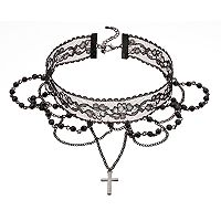 Beaded Lace Cross Charm Choker Necklace