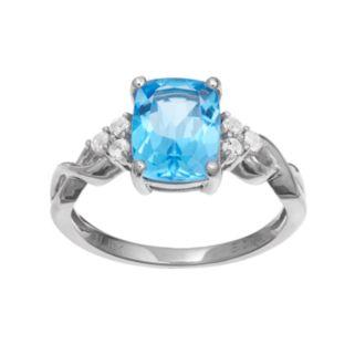 10k White Gold Blue & White Topaz Ring