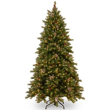 National Tree Company 9-ft. Pre-Lit Dual Color Frosted Berry Artificial Christmas Tree Floor Decor