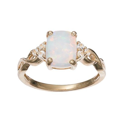 10k Gold Lab-Created White Opal & White Topaz Ring