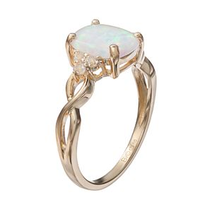 10k Gold Lab-Created White Opal & White Topaz Ring