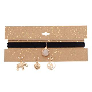 Elephant, Moon, Starburst & Cabochon Charm Choker Necklace Set