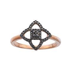 14k Rose Gold 1/6 Carat T.W. Black Diamond Star Ring