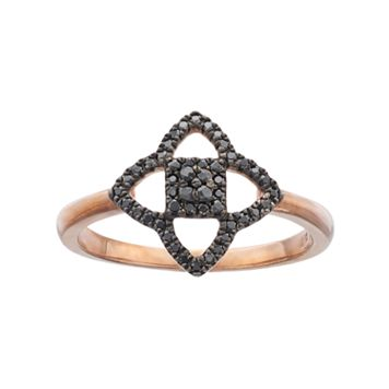 14k Rose Gold 1/6 Carat T.W. Black Diamond Star Ring