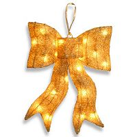 National Tree Company 16-in. Pre-Lit Sisal Bow Christmas Wall Decor