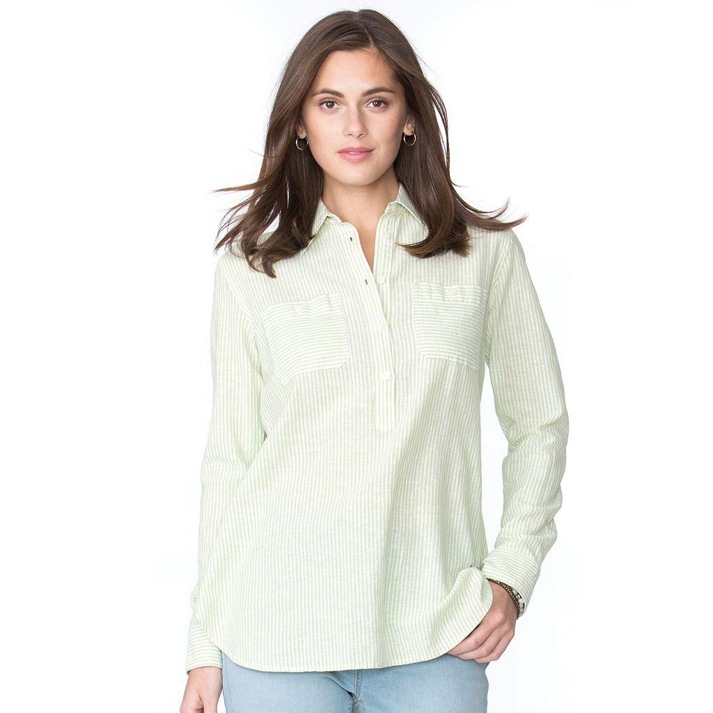 Petite Chaps Striped Linen Blend Shirt