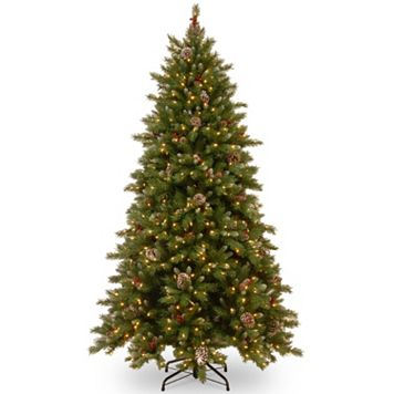 National Tree Company 7.5-ft. Frosted Berry Hinged Pre-Lit Artificial Christmas Tree
