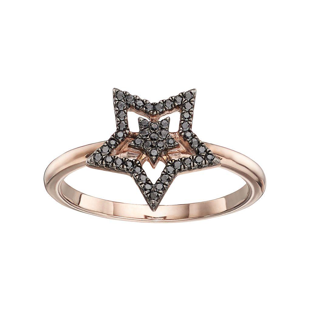 14k Rose Gold 1/6 Carat T.W. Black Diamond Double Star Ring
